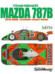 Model Factory Hiro: Model car kit 1/12 scale - Mazda 787B Renown #55 - Volker Weidler (DE) + Johnn 'Johnny' Herbert (GB) + Bertrand Gachot (LU) - 24 Hours Le Mans 1991 - photo-etched parts, resin parts, rubber parts, seatbelt fabric, vacuum formed parts, water slide decals, white metal parts, other materials, assembly instructions and painting instructions