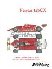 Model Factory Hiro: Model car kit 1/12 scale - Ferrari 126CX Fiat Agip #27, 28 - Gilles Villeneuve (CA), Didier Pironi (FR) - USA West Long Beach Grand Prix 1981 - CNC metal parts, assembly instructions, metal parts, photo-etched parts, resin parts, rubber parts, seatbelt fabric, turned metal parts, vacuum formed parts, water slide decals, white metal parts and other materials image