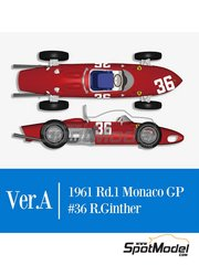 Model Factory Hiro: Model car kit 1/12 scale - Ferrari 156 F1 Shark Nose #36 - Richie Ginther (US) - Monaco Formula 1 Grand Prix 1961 - photo-etched parts, rubber parts, water slide decals, white metal parts, assembly instructions and painting instructions image