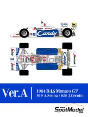 Model Factory Hiro: Model car kit 1/12 scale - Toleman Hart TG184 Candy #19, 20 - Ayrton Senna (BR), Johnny Cecotto (VE) - Monaco Formula 1 Grand Prix 1984 - photo-etched parts, resin parts, rubber parts, seatbelt fabric, vacuum formed parts, water slide decals, white metal parts, assembly instructions and painting instructions