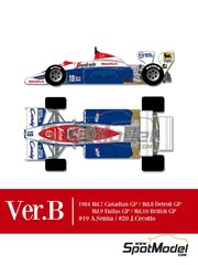 Model Factory Hiro: Model car kit 1/12 scale - Toleman Hart TG184 Candy #19, 20 - Ayrton Senna (BR), Johnny Cecotto (VE) - Canadian Formula 1 Grand Prix, British Formula 1 Grand Prix, USA Detroit Grand Prix, USA Dallas Grand Prix 1984 - photo-etched parts, resin parts, rubber parts, seatbelt fabric, vacuum formed parts, water slide decals, white metal parts, assembly instructions and painting instructions