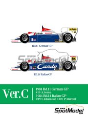 Model Factory Hiro: Model car kit 1/12 scale - Toleman Hart TG184 Candy #19, 20 - Ayrton Senna (BR), Stefan Johansson (SE), Pierluigi Martini (IT) - German Grand Prix, Italian Formula 1 Grand Prix 1984 - photo-etched parts, resin parts, rubber parts, seatbelt fabric, vacuum formed parts, water slide decals, white metal parts, assembly instructions and painting instructions