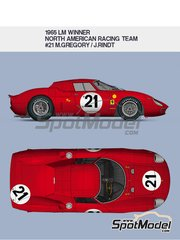 Model Factory Hiro: Model car kit 1/12 scale - Ferrari 250LM North American Racing Team #21 - Masten Gregory (US) + Jochen Rindt (AT) - 24 Hours Le Mans 1965 - metal parts, photo-etched parts, resin parts, turned metal parts, vacuum formed parts, water slide decals, white metal parts, assembly instructions and painting instructions