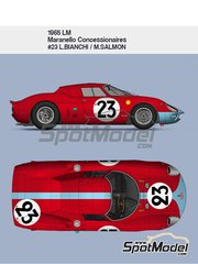 Model Factory Hiro: Model car kit 1/12 scale - Ferrari 250LM Maranello Concessionaires #23 - Lucien Bianchi (BE) + Michael Salmon (GB) - 24 Hours Le Mans 1965 - metal parts, photo-etched parts, resin parts, turned metal parts, vacuum formed parts, water slide decals, white metal parts, assembly instructions and painting instructions