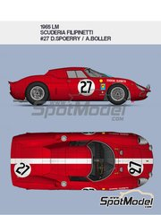 Model Factory Hiro: Model car kit 1/12 scale - Ferrari 250LM Scuderia Filipinetti #27 - Dieter Spoerry (CH) + Armand Boller  (CH) - 24 Hours Le Mans 1965 - metal parts, photo-etched parts, resin parts, turned metal parts, vacuum formed parts, water slide decals, white metal parts, assembly instructions and painting instructions