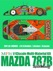Model Factory Hiro: Model car kit 1/43 scale - Mazda 787B Renown #55 - Volker Weidler (DE) + Johnn 'Johnny' Herbert (GB) + Bertrand Gachot (LU) - 24 Hours Le Mans 1991 - photo-etched parts, resin parts, rubber parts, vacuum formed parts, water slide decals, white metal parts, assembly instructions and painting instructions