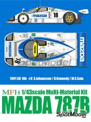Model Factory Hiro: Model car kit 1/43 scale - Mazda 787B Mazda #18 - Stefan Johansson (SE) + Dave Kennedy (IE) + Maurizio Sandro Sala (BR) - 24 Hours Le Mans 1991 - photo-etched parts, resin parts, rubber parts, vacuum formed parts, water slide decals, white metal parts, assembly instructions and painting instructions