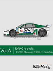 Model Factory Hiro: Model car kit 1/12 scale - Lancia Beta Montecarlo Alitalia #576 - Gilles Villeneuve (CA) + Walter Röhrl (DE) + Christian Geistdörfer (DE) - Giro de Italia Rally 1979 - photo-etched parts, resin parts, rubber parts, seatbelt fabric, vacuum formed parts, water slide decals, white metal parts, assembly instructions and painting instructions