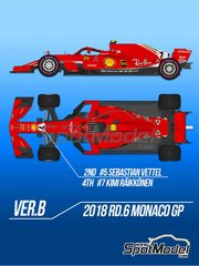 Model Factory Hiro: Model car kit 1/12 scale - Ferrari SF71H #5, 7 - Sebastian Vettel (DE), Kimi Räikkönen (FI) - Monaco Formula 1 Grand Prix 2018 - photo-etched parts, resin parts, rubber parts, turned metal parts, water slide decals, white metal parts, assembly instructions and painting instructions