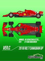 Model Factory Hiro: Model car kit 1/12 scale - Ferrari SF71H #5, 7 - Sebastian Vettel (DE), Kimi Räikkönen (FI) - Canadian Grand Prix 2018 - photo-etched parts, resin parts, rubber parts, turned metal parts, water slide decals, white metal parts, assembly instructions and painting instructions