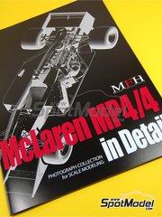 Model Factory Hiro: Libro de referencia - McLaren Honda MP4/4 Marlboro Nº 11, 12 - Ayrton Senna (BR), Alain Prost (FR) - Campeonato del Mundo de Formula 1 1988
