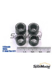 Model Factory Hiro: Tyre set 1/43 scale - Good Year narrow slick 1990s - rubber parts - 4 units