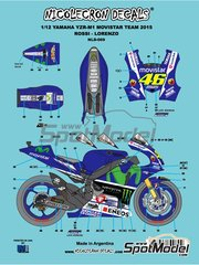 Nicolecron Decals: Marking / livery 1/12 scale - Yamaha YZR-M1 Movistar Team #46, 99 - Valentino Rossi (IT), Jorge Lorenzo (ES) - Motorcycle World Championship 2015 - water slide decals - for Tamiya references TAM14117, 14117, TAM14119, 14119, TAM14120 and 14120 image