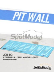 Pit Wall: Logotypes 1/20 scale - White Pirelli P Zero Formula 1 - water slide decals