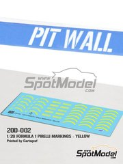 Pit Wall: Logotypes 1/20 scale - Yellow Pirelli P Zero Formula 1 - water slide decals