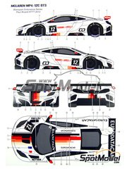 Pit Wall: Marking / livery 1/24 scale - McLaren MP4/12C GT3 ART GP #12 - Duncan Tappy (GB) + Grégoire Demoustier (FR) - Blancpain Endurance Series 2012 - water slide decals and assembly instructions - for Fujimi references FJ125558, 125558, RS-44, FJ125633, 125633, 12563, RS-41, FJ125879, 125879 and RS-62