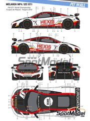 Pit Wall: Marking / livery 1/24 scale - McLaren MP4-12C GT3 Hexis #1, 2 - Frédéric 'Mako' Makowiecki (FR) + Stef Dusseldorp (NL), Álvaro Parente (PT) + Grégoire Demoustier (FR) - GT FIA World Championship 2012 - water slide decals and assembly instructions - for Fujimi references FJ125558, 125558, RS-44, FJ125633, 125633, 12563, RS-41, FJ125879, 125879 and RS-62