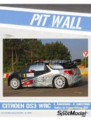 Pit Wall: Decals 1/24 scale - Citroen DS3 WRC IceOne Racing #8 - Kimi Räikkönen (FI) + Kaj Lindström (FI) - Alsace France Rally 2011 - for Heller references 80757 and 80758