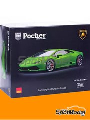 Pocher: Model car kit 1/8 scale - Lamborghini Huracan LP 610-4 - metal parts, plastic parts, rubber parts, seatbelt fabric, water slide decals, assembly instructions and painting instructions - for Zero Paints reference ZP-1020-L0L6