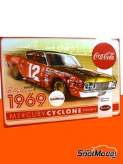Polar Lights: Model car kit 1/25 scale - Mercury Cyclone Spoiler II Coca Cola #12 - Robert Arthur 'Bobby' Allison (US) - Nascar - National Association for Stock Car Auto Racing 1969 - plastic parts, rubber parts, water slide decals, assembly instructions and painting instructions image