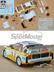 Profil24: Model car kit 1/24 scale - Audi Quattro Sport S1 HB #2, 6 - Hannu Mikkola (FI) + Arne Hertz (SE), Walter Röhrl (DE) + Christian Geistdörfer (DE) - Montecarlo Rally - Rallye Automobile de Monte-Carlo 1986 - resin multimaterial kit