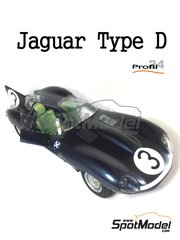 Profil24: Model car kit 1/24 scale - Jaguar D Type #3, 15 - 24 Hours Le Mans 1957 - photo-etched parts, resin parts, rubber parts, vacuum formed parts, water slide decals and assembly instructions