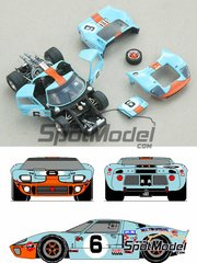 Profil24: Model car kit 1/43 scale - Ford GT40 Gulf #6, 7 - 24 Hours Le Mans 1969 - photo-etched parts, resin parts, rubber parts, vacuum formed parts, water slide decals and assembly instructions image