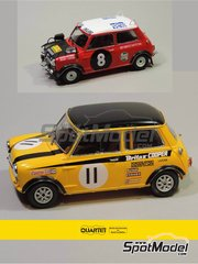 Quartet: Marking / livery 1/24 scale - Mini Cooper #8, 11 - Henry Liddon (GB) + Rauno Aaltonen (FI) - Safari Rally, British Touring Car Championship (BTCC) 1967 and 1969 - water slide decals and assembly instructions - for Revell references REV07064, 07064 and 80-7064, or Tamiya references TAM24048, 24048, TAM24130 and 24130 - 2 units