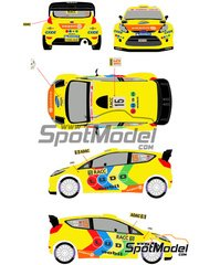 Racing Decals 43: Calcas de agua escala 1/24 - Ford Fiesta WRC LUDO Mobil Nº 15 - Henning Solberg (NO) + Ilka Minor-Petrasko (AT) - Rally de Alemania ADAC 2011 - para la referencia de Belkits BEL-003