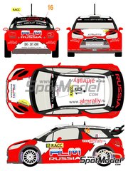 Racing Decals 43: Decals 1/24 scale - Citroen DS3 WRC Novitec ALM Russia #16 - Evgeniy Novikov (RU) + Denis Giraudet (FR) - Catalunya Costa Dorada RACC Rally 2012 - for Heller reference 80757