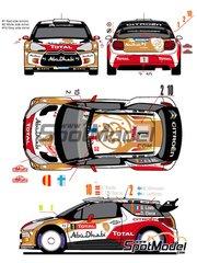 Racing Decals 43: Decals 1/24 scale - Citroen DS3 WRC Abu Dhabi #1, 2, 10 - Sebastien Loeb (FR) + Daniel Elena (MC), Mikko Hirvonen (FI) + Jarmo Lehtinen (FI), Daniel 'Dani' Sordo (ES) + Carlos Pedro del Barrio (AR) - Montecarlo Rally 2013 - for Heller references 80757 and 80758