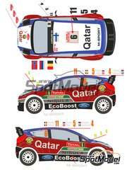 Racing Decals 43: Decals 1/24 scale - Ford Fiesta WRC Qatar #4,5,6,11 - Mads Ostberg (NO) + Jonas Andersson (SE), Evgeniy Novikov (RU) + Ilka Minor-Petrasko (AT), Juho Hänninen (FI) + Tomi Tuominen (FI), Thierry Neuville (BE) + Nicolas Gilsoul (BE) - Montecarlo Rally 2013 - for Belkits reference BEL-003