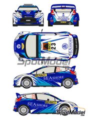 Racing Decals 43: Decals 1/24 scale - Ford Fiesta WRC Seashore #23 - Abdulaziz Al-Kuwari (QA) + Killian Duffy (IE) - Catalunya Costa Dorada RACC Rally 2013 - for Belkits reference BEL-003