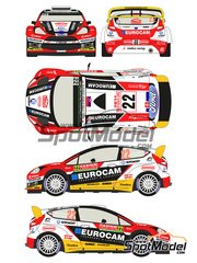 Racing Decals 43: Decals 1/24 scale - Ford Fiesta RS WRC Eurocam #22 - Jaroslav Melicharek (SK) + Erik Melichárek (SK) - Montecarlo Rally - Rallye Automobile de Monte-Carlo 2014 - for Belkits reference BEL-003