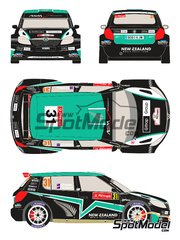 Racing Decals 43: Calcas de agua escala 1/24 - Skoda Fabia S2000 New Zealand Nº 31 - Hayden Paddon (NZ) + John Kennard (GB) - Rally de Portugal 2012 - para la referencia de Belkits BEL-004