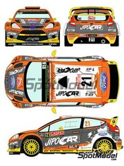 Racing Decals 43: Marking / livery 1/24 scale - Ford Fiesta RS WRC Jipocar Czech National Team #21 - Martin Prokop (CZ) + Jan Tománek (CZ) - Montecarlo Rally 2015 - water slide decals and assembly instructions - for Belkits reference BEL-003 image