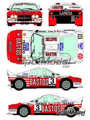 Racing Decals 43: Marking / livery 1/24 scale - Lancia 037 Rally Bastos Texaco Rally Team #3 - Patrick Snijers (BE) + Dany Colebunders (BE) - Haspengow Rally 1985 - water slide decals and assembly instructions - for Hasegawa references 20264, 20277, 20299 and 25030