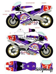 Racing Decals 43: Marking / livery 1/12 scale - Honda NSR500 Terra Racing #3 - Hikaru Miyagi (JP) 1989 - water slide decals and assembly instructions - for Hasegawa references 21504 and 21714