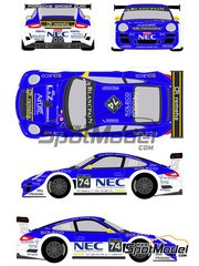 Racing Decals 43: Marking / livery 1/24 scale - Porsche 911 GT3 NEC #74 - Fred Bouvy (BE) + Paul van Splunteren (NL) + Maxime Soulet (BE) + Dylan Derdaele (BE) - 24 Hours SPA Francorchamps 2012 - water slide decals and assembly instructions - for Fujimi references FJ123905, 123905 and RS-85