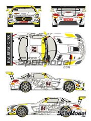 Racing Decals 43: Marking / livery 1/24 scale - Mercedes Benz SLS AMG GT3 HTP Motorsport #84 - Bernd Schneider (DE) + Maximilian Buhk (DE) + Maximilian Götz (DE) - 24 Hours SPA Francorchamps 2013 - water slide decals and assembly instructions - for Fujimi kits FJ125657 and FJ125695