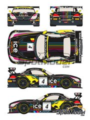 Racing Decals 43: Marking / livery 1/24 scale - BMW Z4 GT3 Ice Watch #4 - Maxime Martin (BE) + Nick Catsburg (NL) - Baku World Challenge 2013 - water slide decals and assembly instructions - for Fujimi kits FJ125565, FJ125688, FJ125930 image