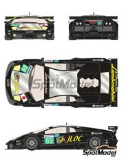 Racing Decals 43: Marking / livery 1/24 scale - Lamborghini Murcielago LP670 R-SV JLOC #69 - Atsushi Yogo (JP) + Koji Yamanishi (JP) + Hiroyuki Iiri (JP) - 24 Hours Le Mans 2010 - water slide decals - for Aoshima reference AOSH-007082 image