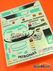 Racing Decals 43: Marking / livery 1/24 scale - Mercedes Benz SLS AMG GT3 Petronas #86 - Maximilian Götz (DE) + Maximilian Buhk (DE) + Jazeman Jaafar (MY) - 24 Hours SPA Francorchamps 2014 - water slide decals and assembly instructions - for Fujimi references FJ125657, 125657, RS-46, FJ12569 and 12569