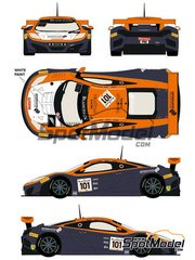 Racing Decals 43: Marking / livery 1/24 scale - McLaren MP4-12C GT3 Prosource #101 - Tim Mullen (GB) + Rob Bell (GB) + Shane van Gisbergen (DE) - 24 Hours SPA Francorchamps 2014 - water slide decals and assembly instructions - for Fujimi references FJ125558, 125558, RS-44, FJ125633, 125633, 12563, RS-41, FJ125879, 125879 and RS-62