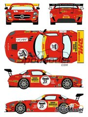 Racing Decals 43: Marking / livery 1/24 scale - Mercedes Benz SLS AMG GT3 Black Falcon Racing #33 - Kenneth Heyer (DE) + Stéphane Lémeret (BE) + Thomas Jäger (DE) - 24 Hours SPA Francorchamps 2011 - water slide decals and assembly instructions - for Fujimi references FJ125657, 125657, RS-46, FJ125695, 125695 and RS-29