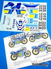 Ragged Edge Designs: Calcas de agua escala 1/12 - Yamaha YZR500 Gauloises Nº 12, 19, 24, 28, 34, 23 - Raymond Roche (FR), Patrick Pons (FR), Christian Sarron (FR) - Campeonato del Mundo 1979 y 1980