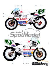 Ragged Edge Designs: Decals 1/12 scale - Honda NSR250 Samson #5 - Wilco Zeelenberg (NL) - World Championship 1991 - for Tamiya references TAM14059, 14059, TAM14061, 14061, TAM14110 and 14110