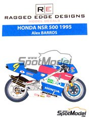 Ragged Edge Designs: Decals 1/12 scale - Honda NSR500 #9 - Alex Barros (BR) - World Championship 1995 - for Tamiya references TAM14071, 14071, TAM14077 and 14077