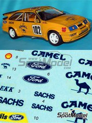 Reji Model: Marking / livery 1/24 scale - Ford Sierra 500 RS Camel #102 - Bjørn Skogstad (NO) - Rallycross 1992 - resin parts, water slide decals, assembly instructions and painting instructions - for Tamiya references TAM24080, 24080, TAM24081 and 24081