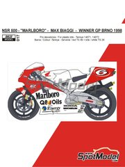 Reji Model: Marking / livery 1/12 scale - Honda NSR500 Marlboro #6 - Max Biaggi (IT) - Brno Grand Prix 1998 - water slide decals and assembly instructions - for Tamiya kits TAM14071 and TAM14072 image